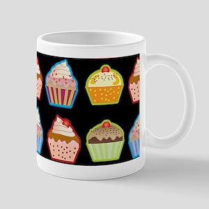 Cute Cupcakes On Black Background Mug