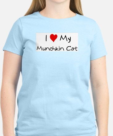 I Love Munchkin Cat Women's Pink T-Shirt
