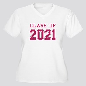 Class of 2021 (Pink) Women's Plus Size V-Neck T-Sh