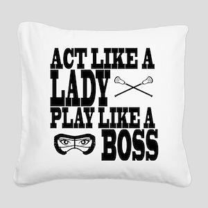 Lacrosse LadyBoss Square Canvas Pillow