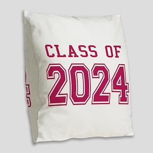 Class of 2024 (Pink) Burlap Throw Pillow