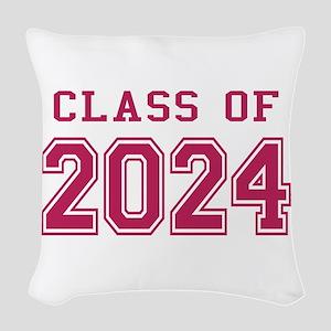 Class of 2024 (Pink) Woven Throw Pillow