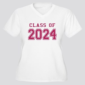 Class of 2024 (Pink) Women's Plus Size V-Neck T-Sh