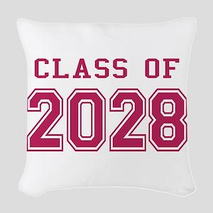 Class of 2028 (Pink) Woven Throw Pillow