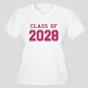 Class of 2028 (Pink) Women's Plus Size V-Neck T-Sh