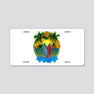 Surfing Sunset Aluminum License Plate