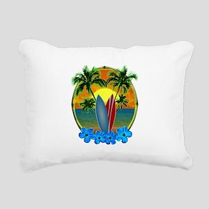 Surfing Sunset Rectangular Canvas Pillow
