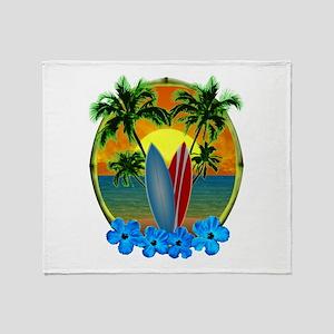 Surfing Sunset Throw Blanket
