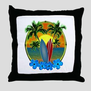 Surfing Sunset Throw Pillow