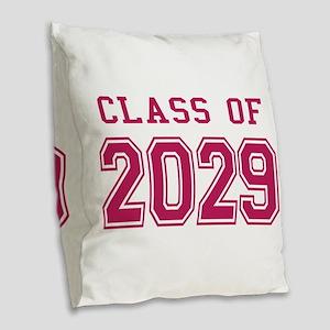 Class of 2029 (Pink) Burlap Throw Pillow