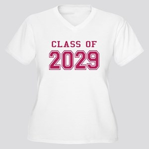 Class of 2029 (Pink) Women's Plus Size V-Neck T-Sh