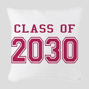 Class of 2030 (Pink) Woven Throw Pillow
