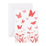 Pink Butterfly Greeting Cards