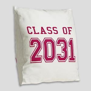 Class of 2031 (Pink) Burlap Throw Pillow