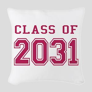 Class of 2031 (Pink) Woven Throw Pillow