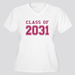 Class of 2031 (Pink) Women's Plus Size V-Neck T-Sh