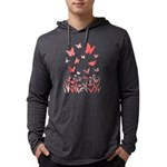 Pink Butterfly Mens Hooded Shirt