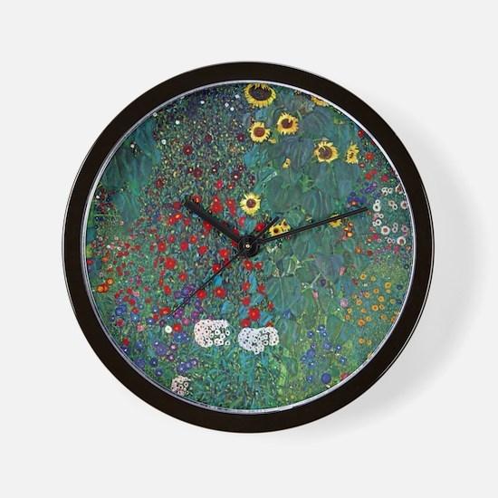 Farmergarden Sunflower by Klimt Wall Clock