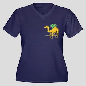 Cute camel Women's Plus Size V-Neck Dark T-Shirt