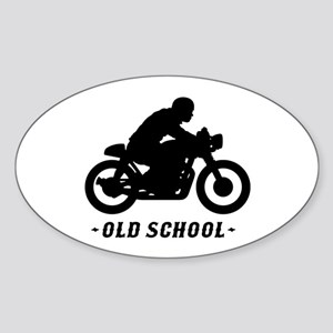 Old School Cafe Racer Sticker (Oval)