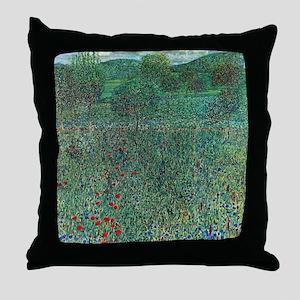 Flower Field in Litzlberg by Klimt Throw Pillow