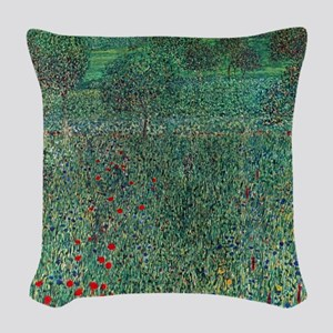 Flower Field in Litzlberg by K Woven Throw Pillow