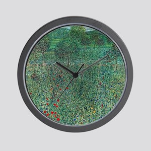Flower Field in Litzlberg by Klimt Wall Clock