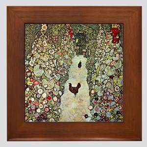 Garden Path with Chickens by Klimt Framed Tile