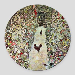 Garden Path with Chickens by Klim Round Car Magnet