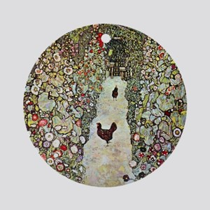 Garden Path with Chickens by Klimt Round Ornament