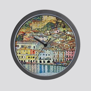 Malcesine on Lake Garda by Gustav Klimt Wall Clock