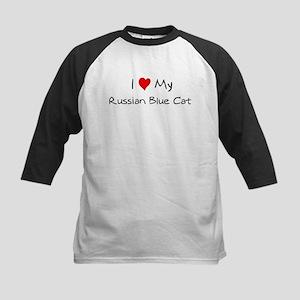 Love My Russian Blue Cat Kids Baseball Jersey