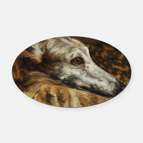 Greyhound Oval Car Magnet