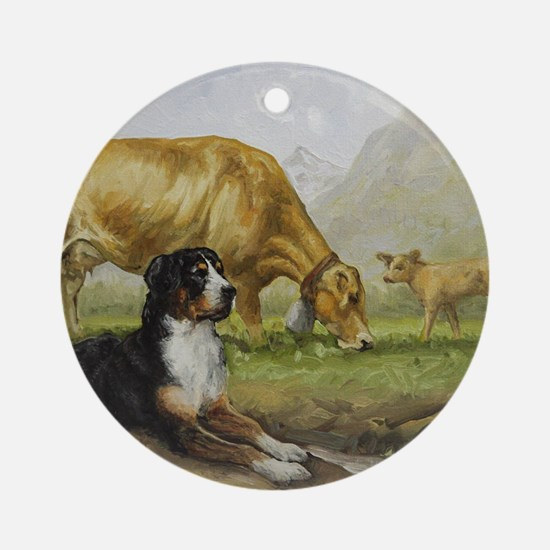 Greater Swiss Mountain Dog and Brow Round Ornament