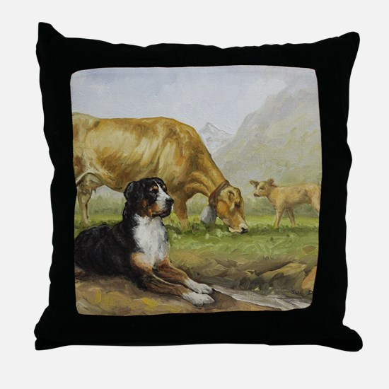 Greater Swiss Mountain Dog and Brown  Throw Pillow