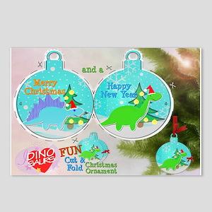 Merry Christmas Cute Dinos PaperCraft Postcards 8