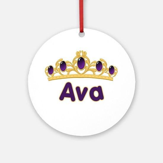 Princess Tiara Ava Personalized Ornament (Round)