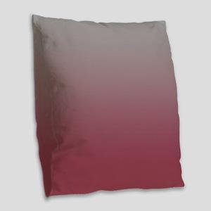 Gray and Pink Plum Burlap Throw Pillow