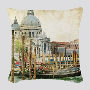 Vintage Venice Photo Woven Throw Pillow