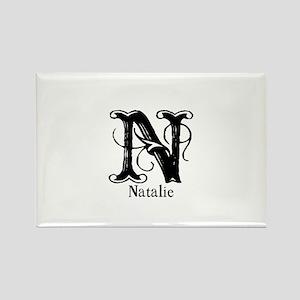 Natalie: Fancy Monogram Rectangle Magnet