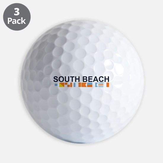 South Beach - Nautical Flags. Golf Ball