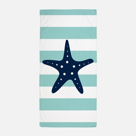 Blue Starfish on Mint Stripes Beach Towel