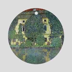 Schloss Kammer By Gustav Klimt Round Ornament