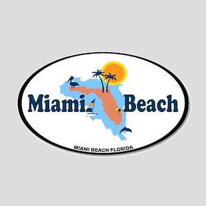 Miami Beach - Map Design. 20x12 Oval Wall Decal