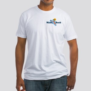 Miami Beach - Map Design. Fitted T-Shirt
