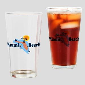 Miami Beach - Map Design. Drinking Glass