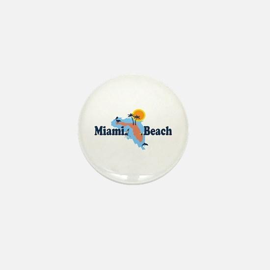 Miami Beach - Map Design. Mini Button