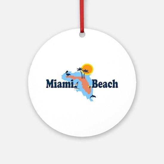 Miami Beach - Map Design. Ornament (Round)