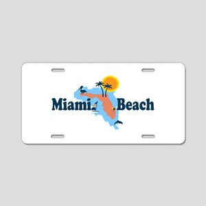 Miami Beach - Map Design. Aluminum License Plate