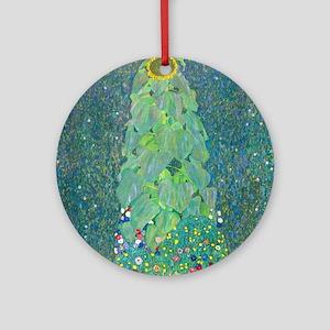 Sunflower by Gustav Klimt Round Ornament